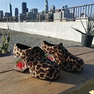 Other - Leopard shoes with clear heels and fake goldfish